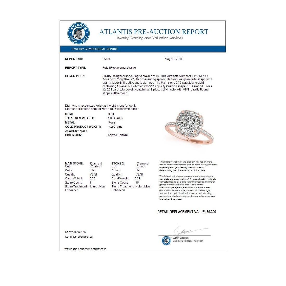 1.08 CTW Certified VS/SI Cushion Diamond Solitaire Halo - 3