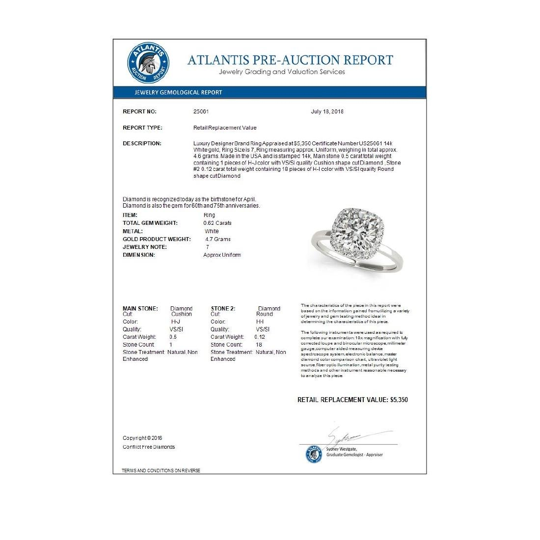 0.62 CTW Certified VS/SI Cushion Diamond Solitaire Halo - 3