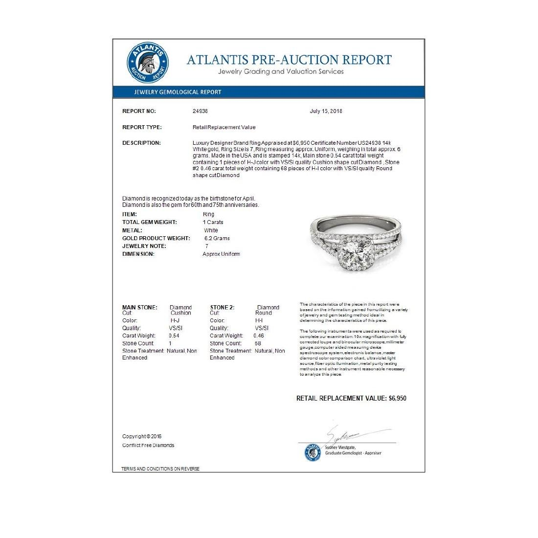 1 CTW Certified VS/SI Cushion Diamond Solitaire Halo - 4