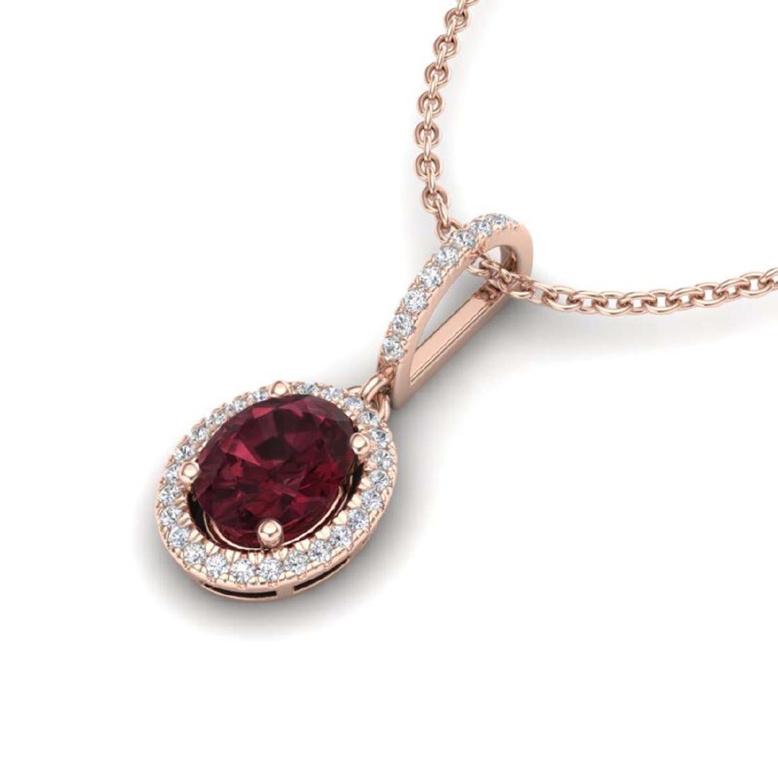 2 CTW Garnet & Micro Pave VS/SI Diamond Necklace - 2