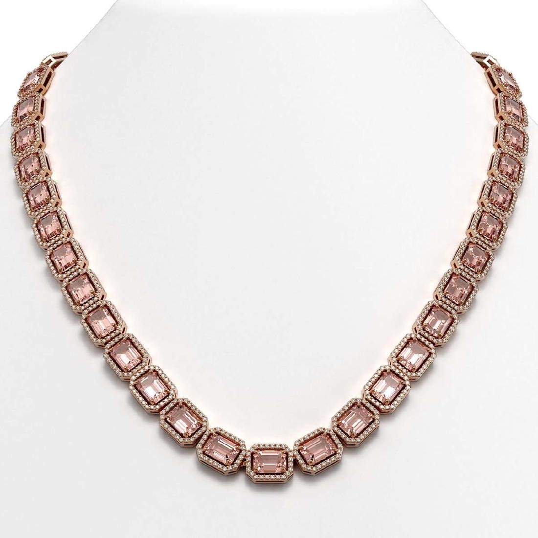 50.99 CTW Morganite & Diamond Halo Necklace 10K Rose