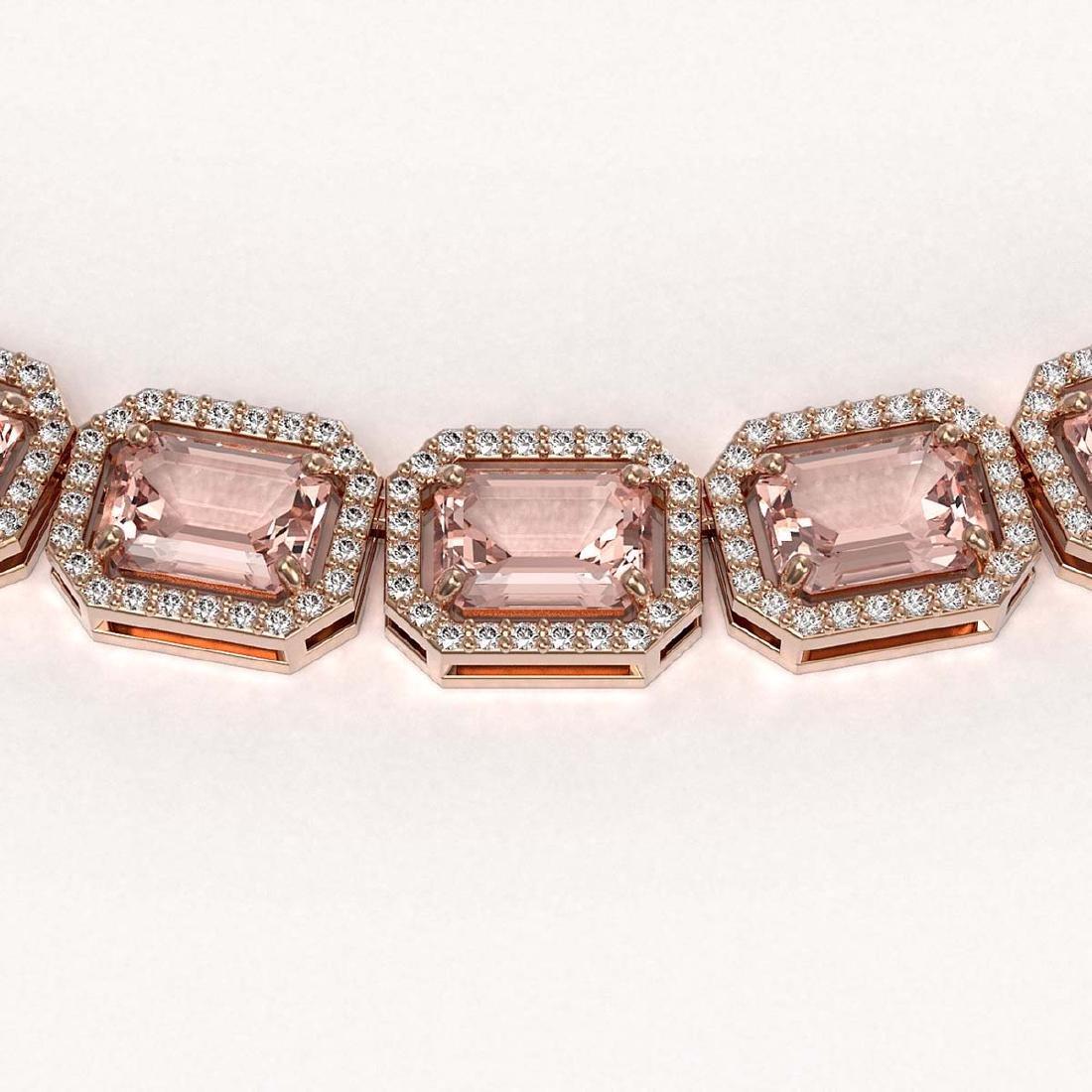 50.99 CTW Morganite & Diamond Halo Necklace 10K Rose - 3
