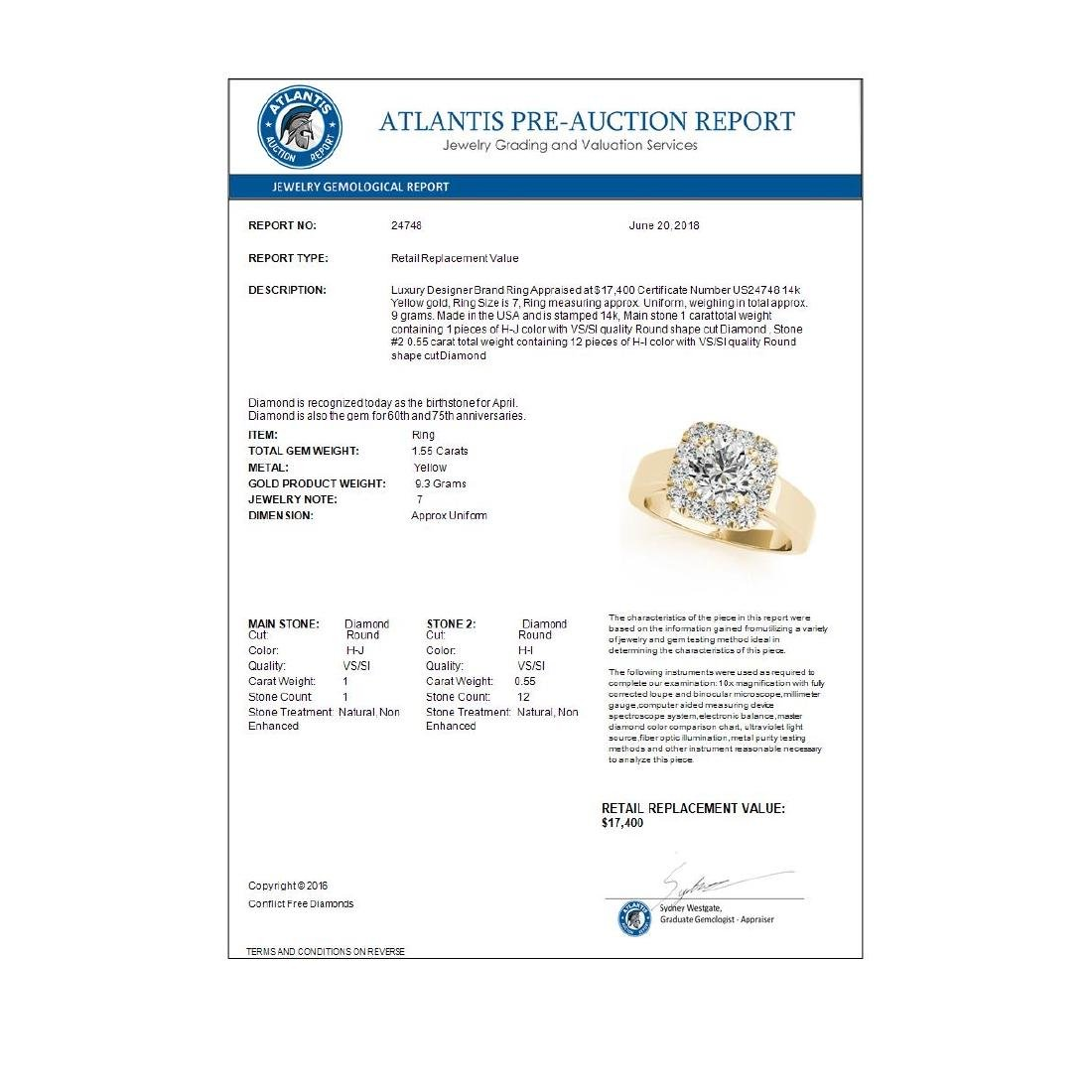 1.55 CTW Certified VS/SI Diamond Solitaire Halo Ring - 3