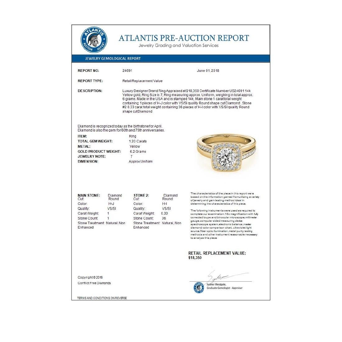 1.33 CTW Certified VS/SI Diamond Solitaire Halo Ring - 4