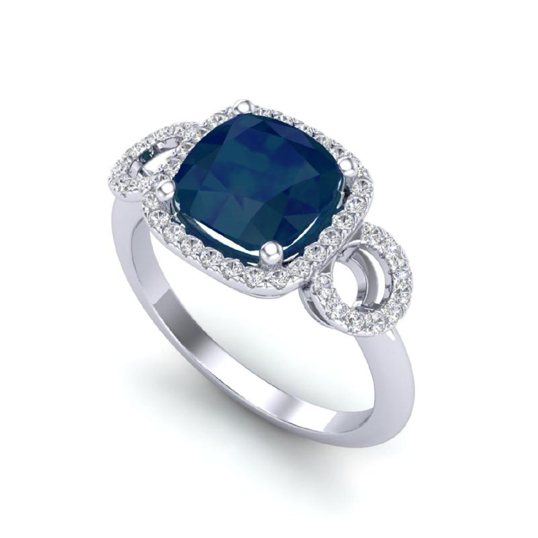 3.15 CTW Sapphire & Micro VS/SI Diamond Ring 18K White - 2