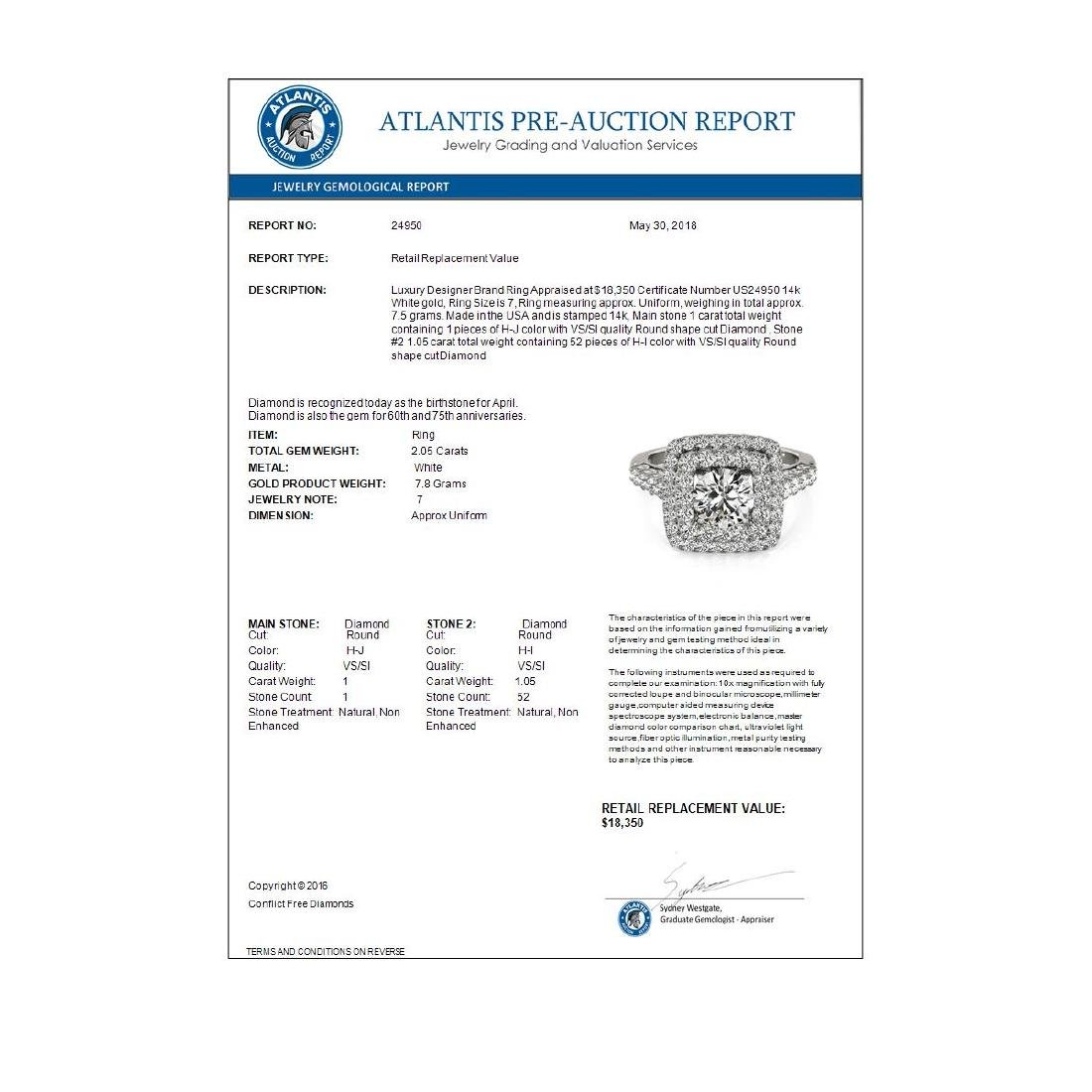 2.05 CTW Certified VS/SI Diamond Solitaire Halo Ring - 4
