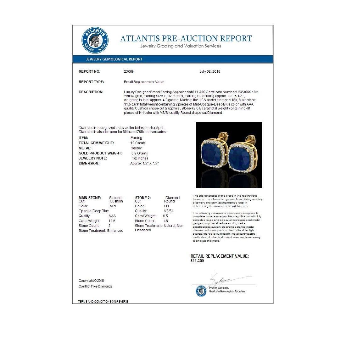 12 CTW Sapphire & Micro Pave Halo VS/SI Diamond - 3