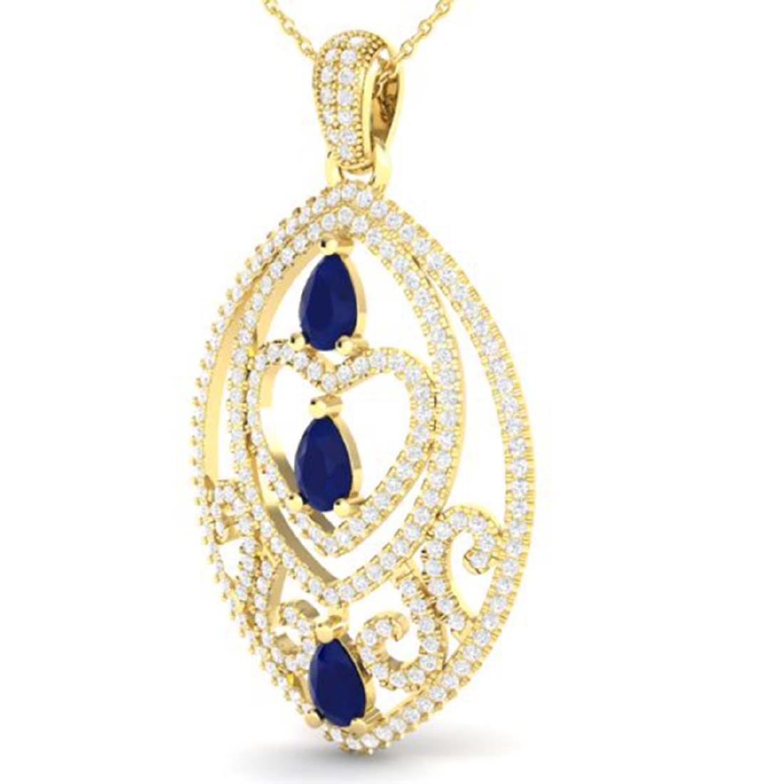 3.50 CTW Sapphire & Micro VS/SI Diamond Heart Necklace - 2