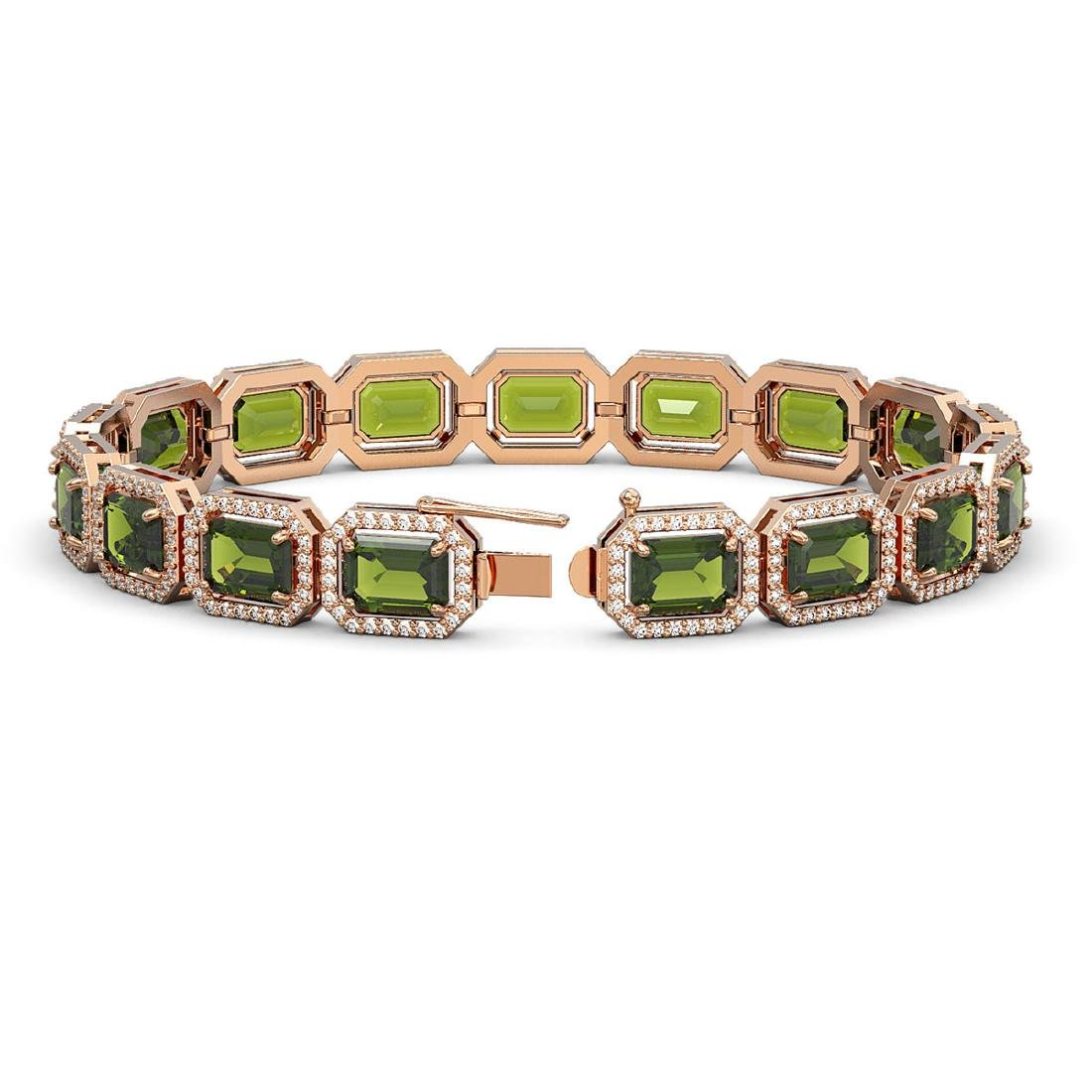26.38 CTW Tourmaline & Diamond Halo Bracelet 10K Rose - 2