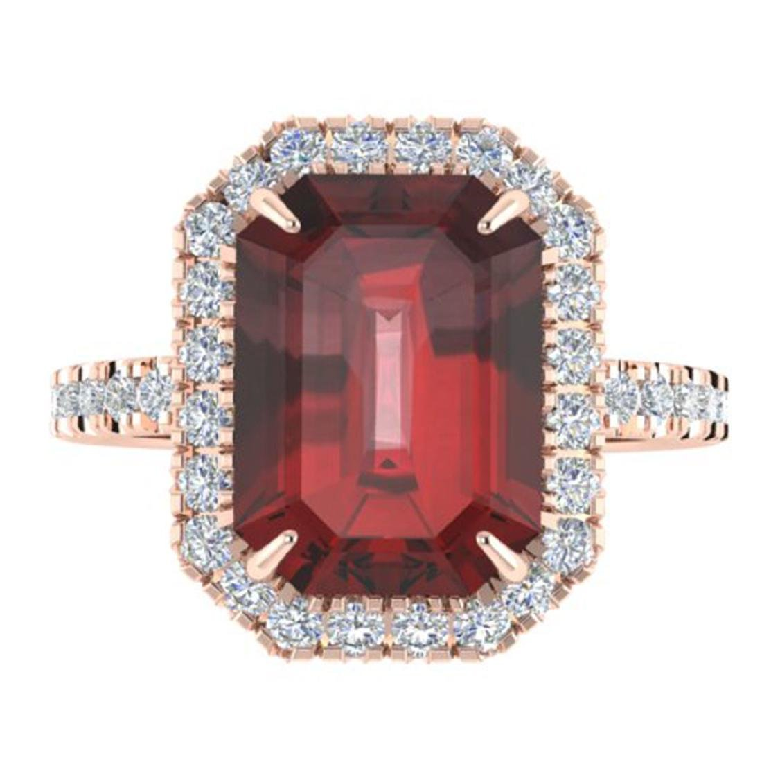 6.03 CTW Garnet And Micro Pave VS/SI Diamond Halo Ring