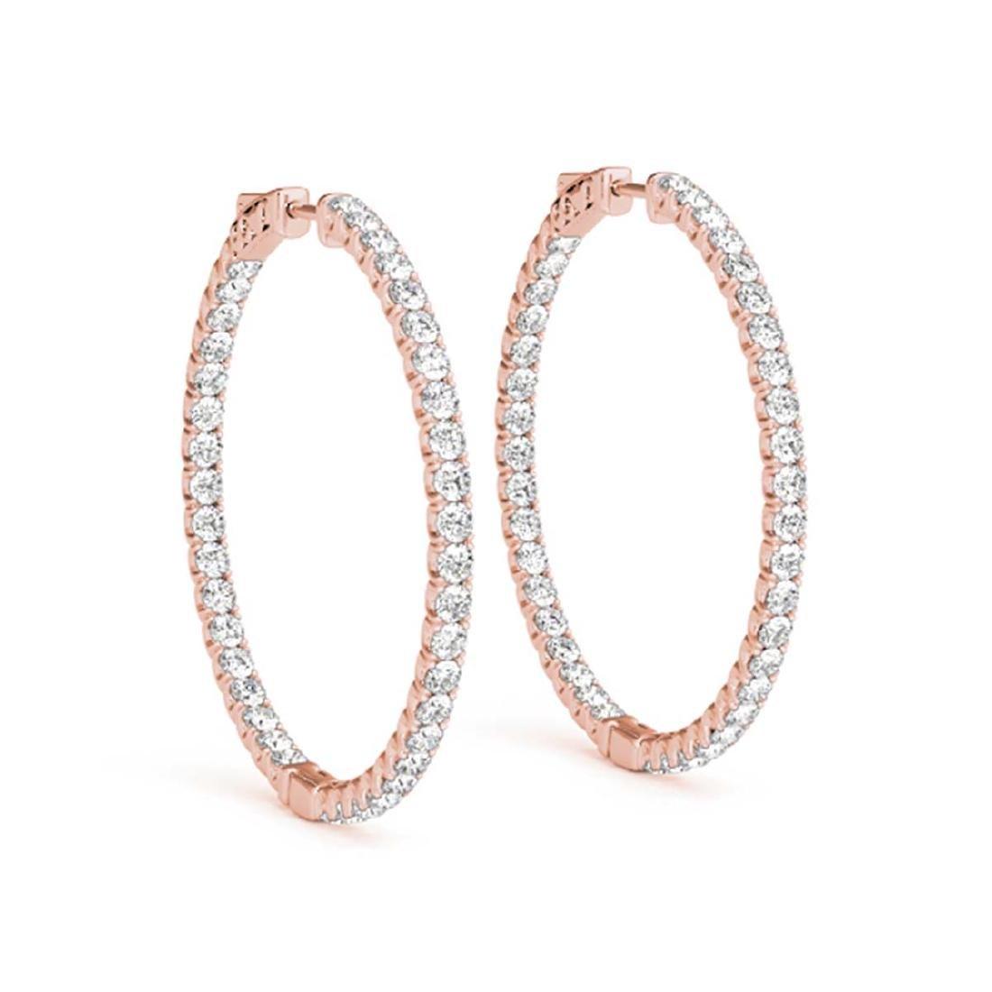 5.5 CTW Diamond VS/SI Certified 64 Mm Hoop Earrings 14K - 2