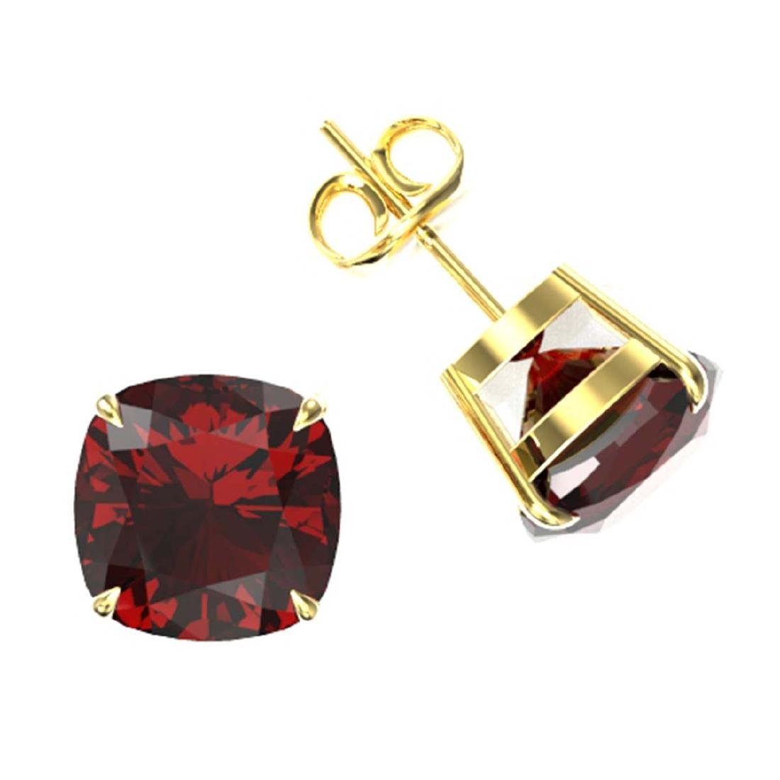 12 CTW Cushion Cut Garnet Designer Solitaire Stud - 2