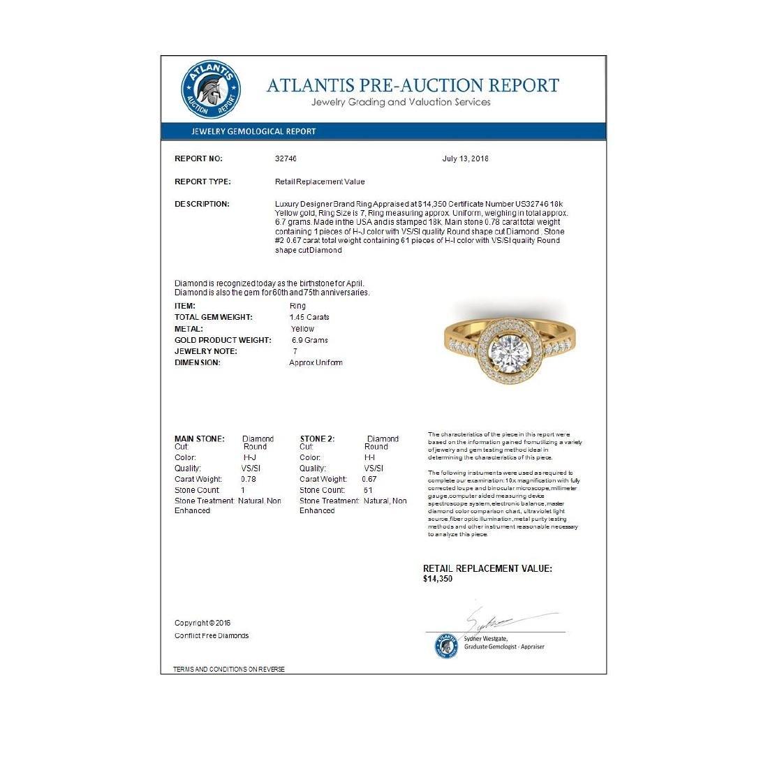 1.45 CTW Certified VS/SI Diamond Art Deco Micro Halo - 4