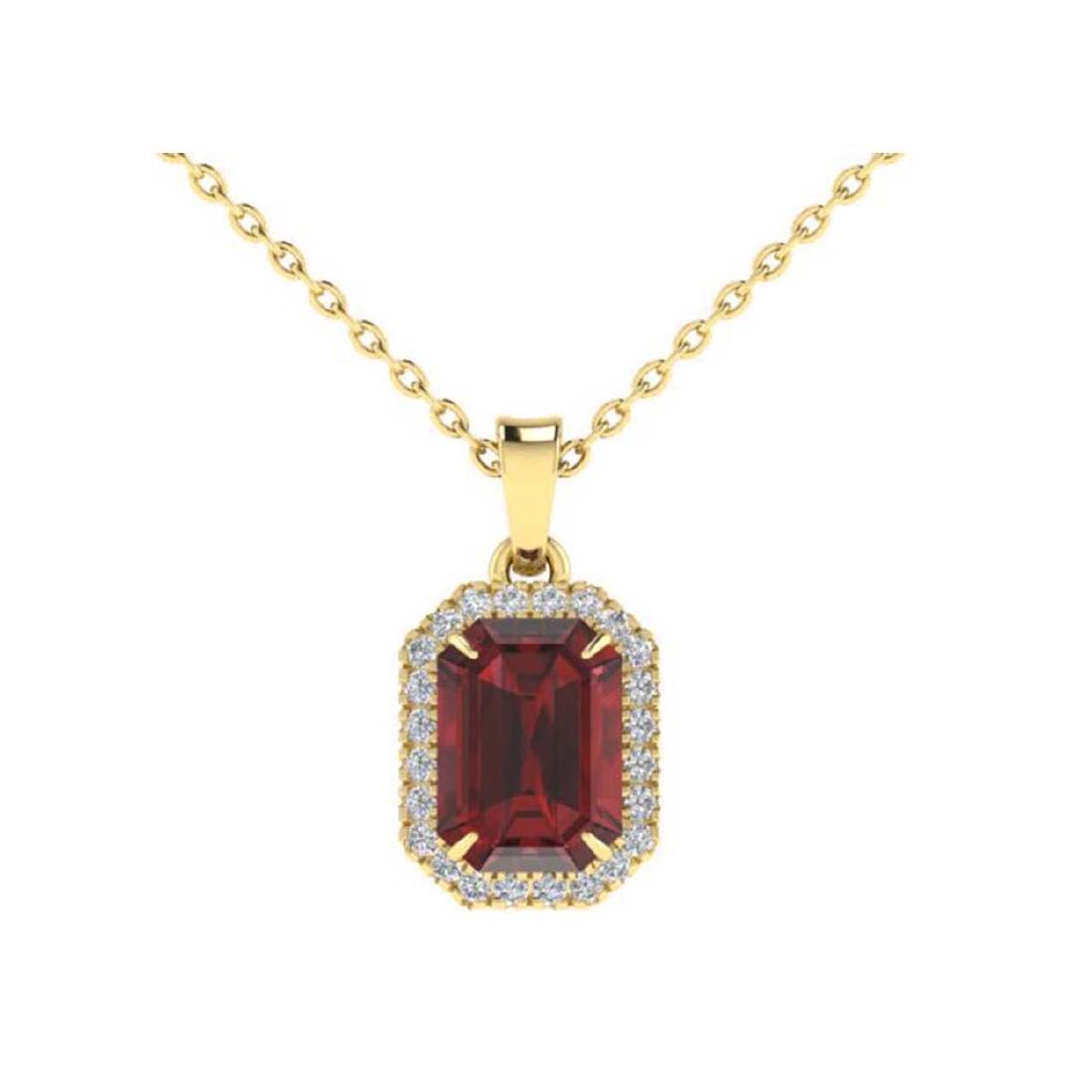 6 CTW Garnet And Micro Pave VS/SI Diamond Halo Necklace - 2