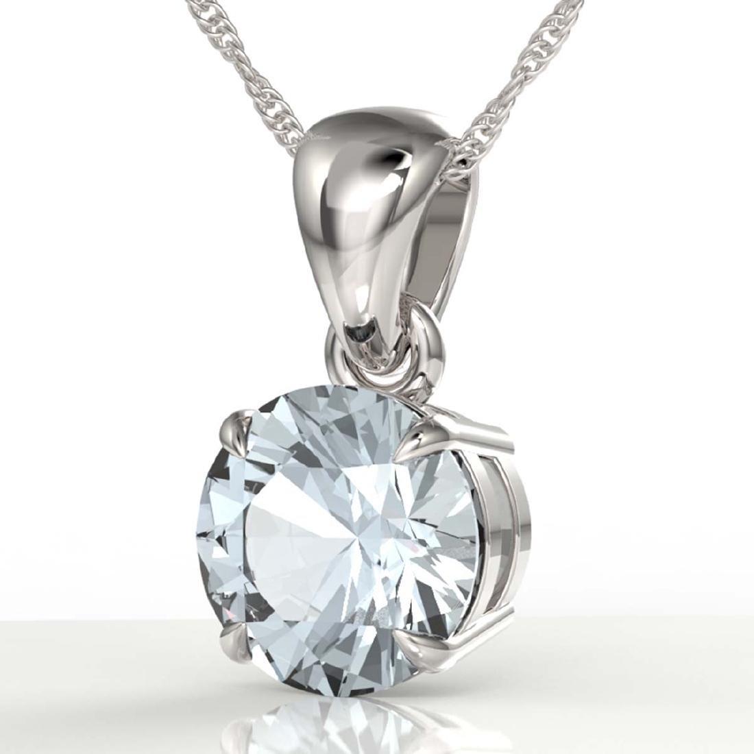 2 CTW Aquamarine Designer Inspired Solitaire Necklace
