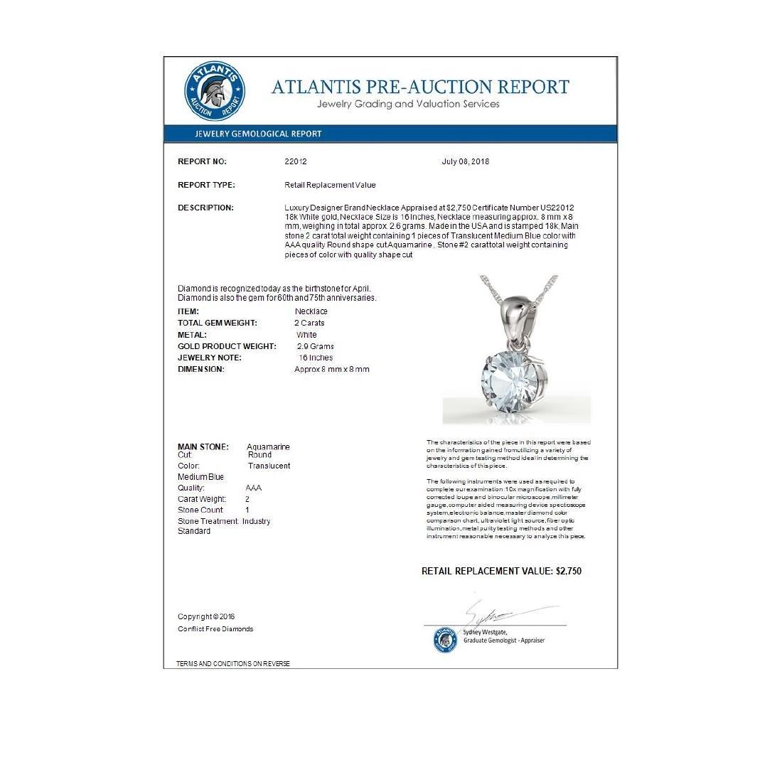 2 CTW Aquamarine Designer Inspired Solitaire Necklace - 3