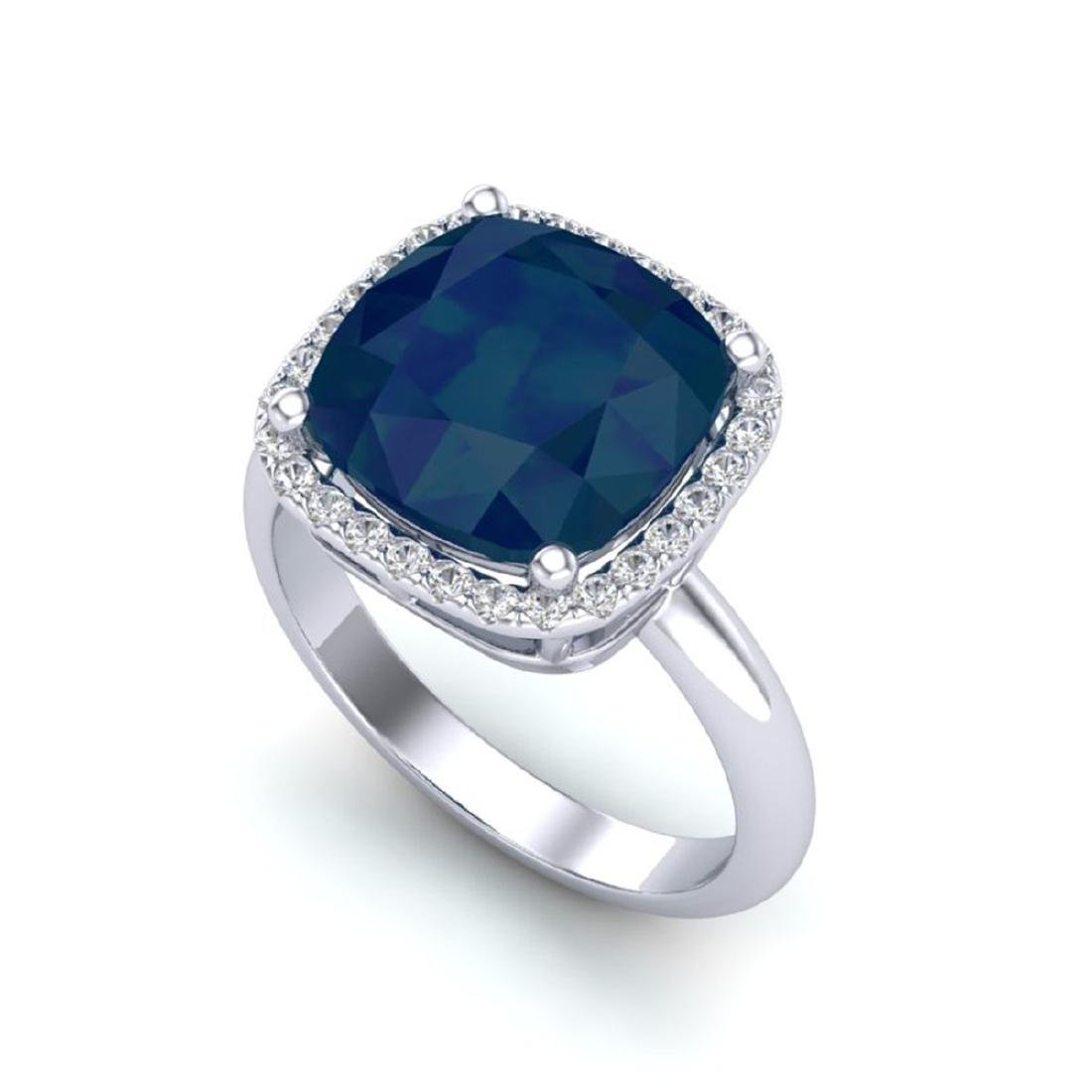 6 CTW Sapphire And Micro Pave Halo VS/SI Diamond Ring - 2