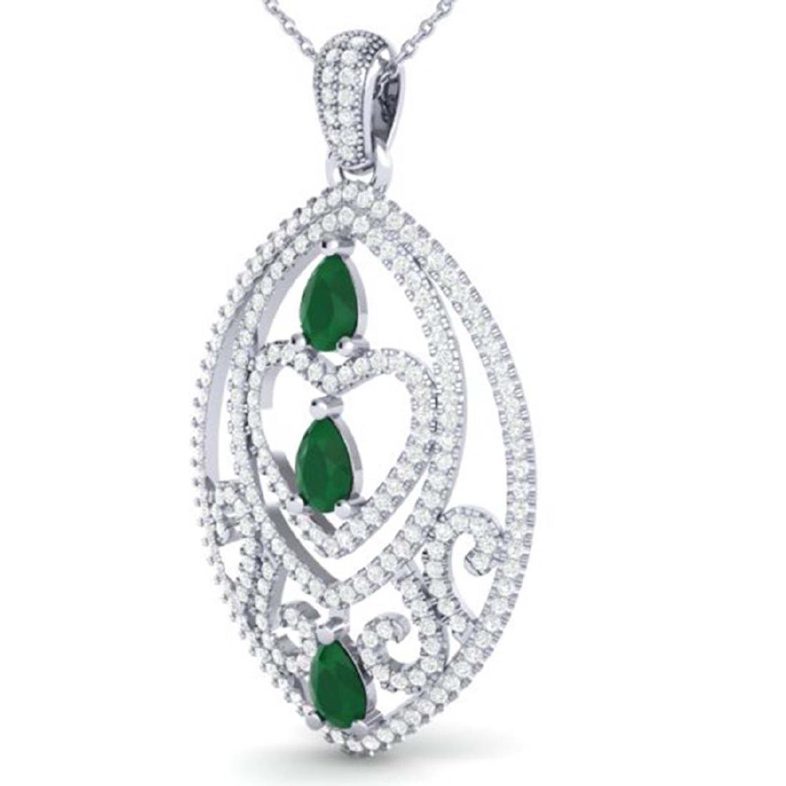 3.50 CTW Emerald & Micro Pave VS/SI Diamond Heart - 2