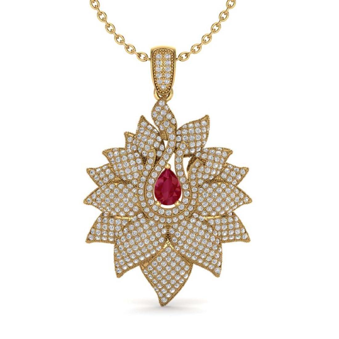 3 CTW Ruby & Micro Pave VS/SI Diamond Designer Necklace - 2