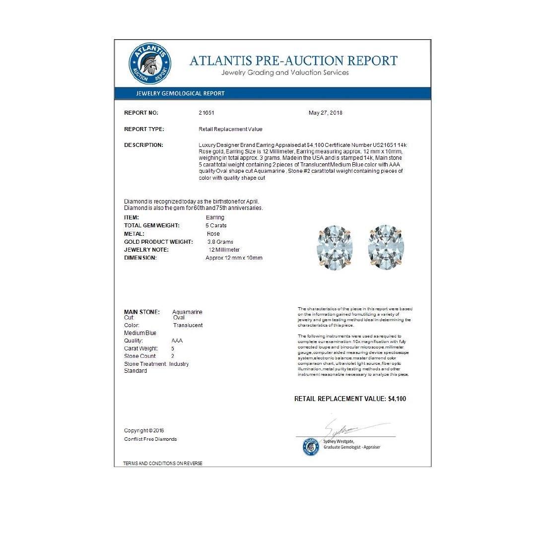 5 CTW Aquamarine Designer Inspired Solitaire Stud - 3