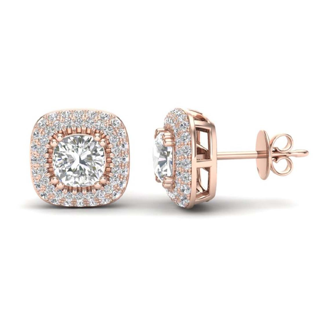 2.16 CTW Micro Pave VS/SI Diamond Earrings Solitaire - 2