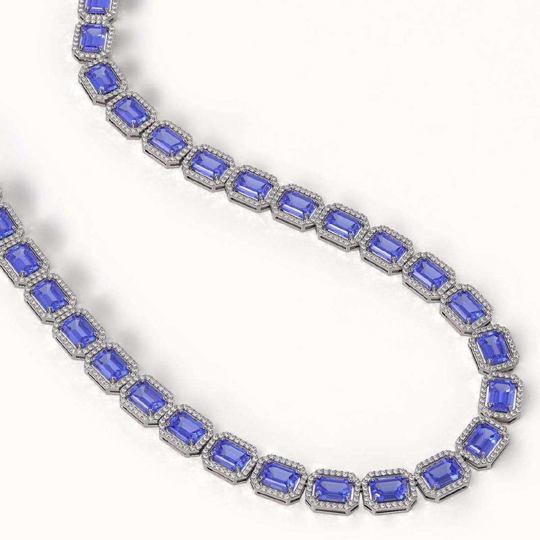 56.69 CTW Tanzanite & Diamond Halo Necklace 10K White - 2