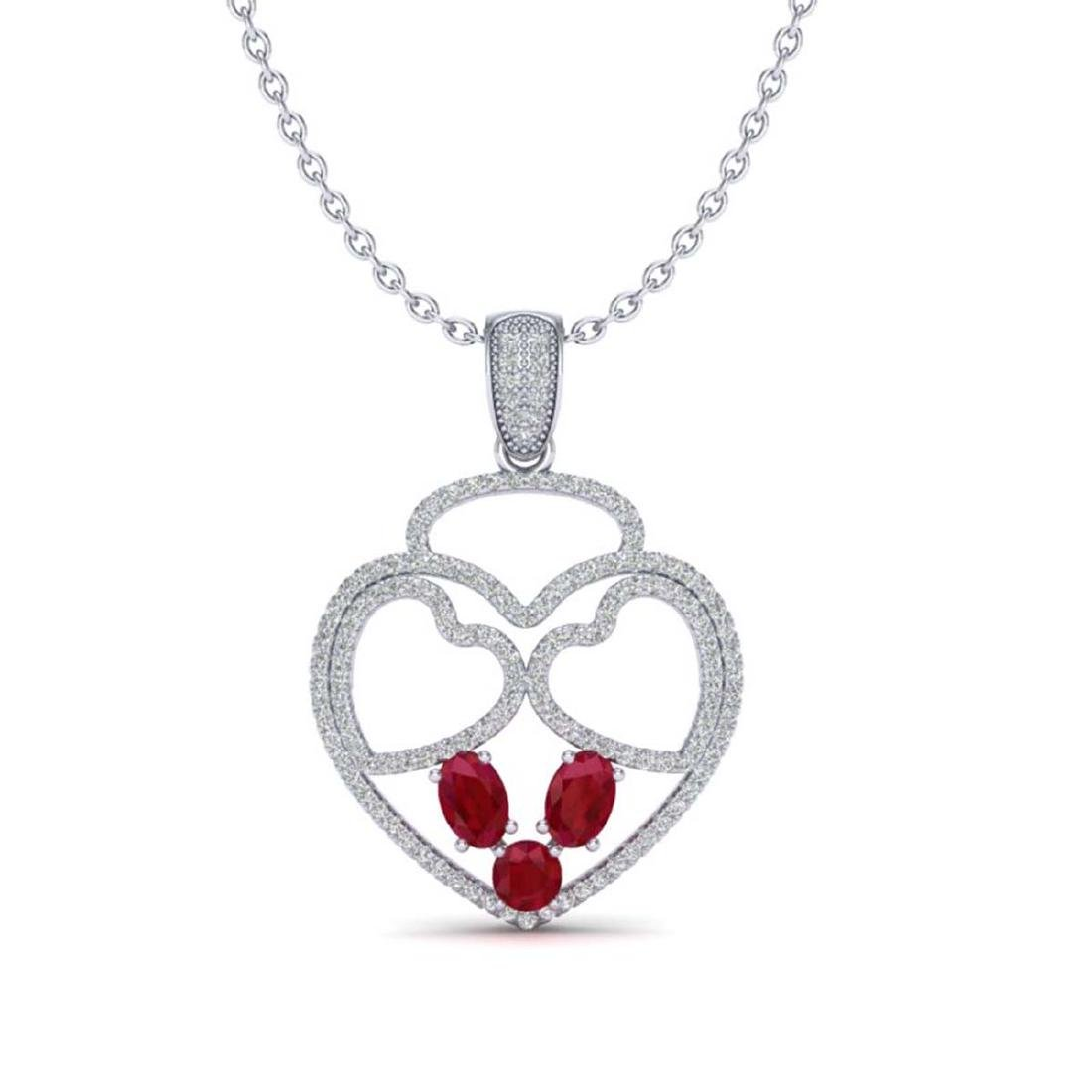 3 CTW Ruby & Micro Pave Designer Inspired Heart - 2
