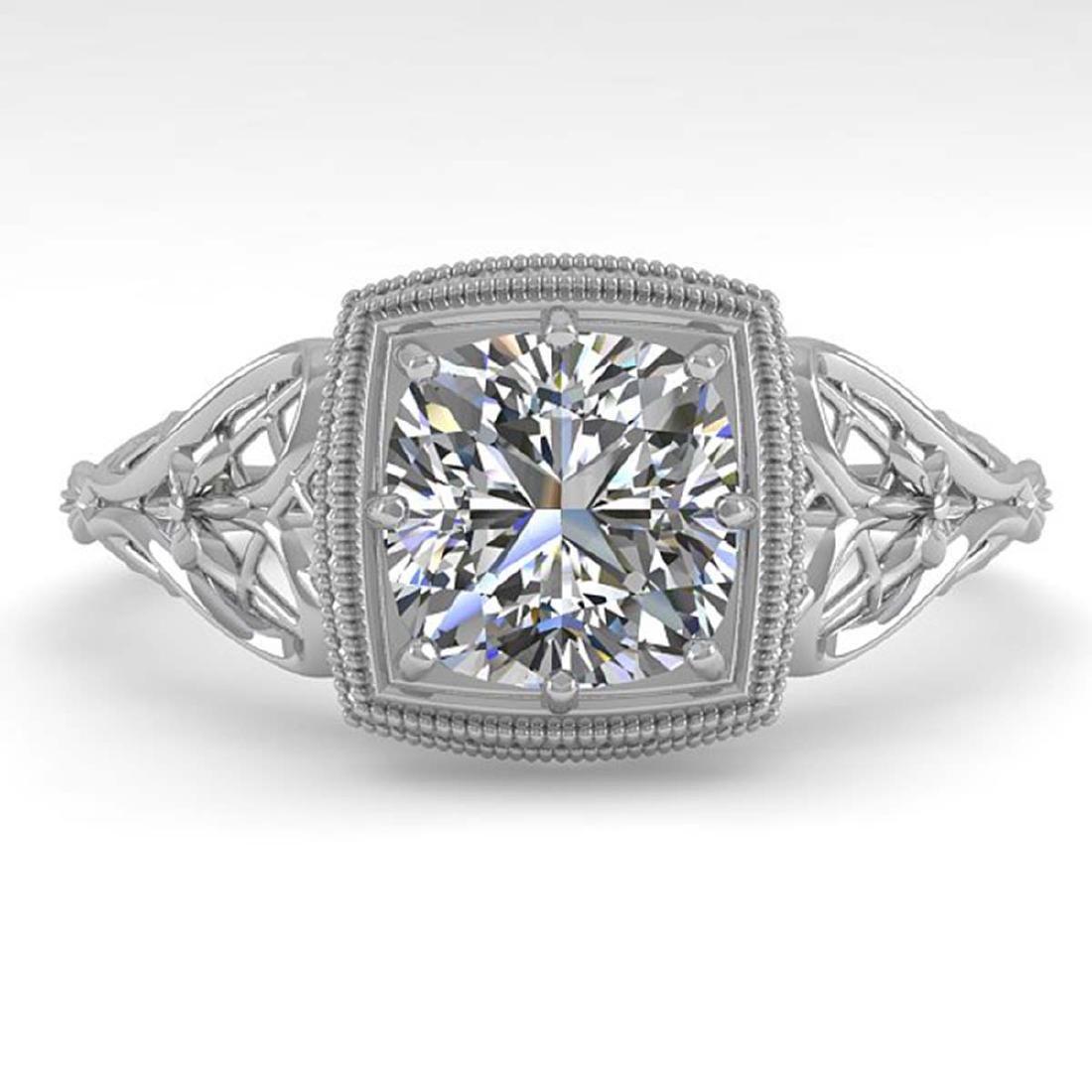 1.0 CTW Certified VS/SI Cushion Diamond Ring Art Deco