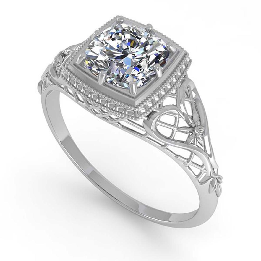 1.0 CTW Certified VS/SI Cushion Diamond Ring Art Deco - 2