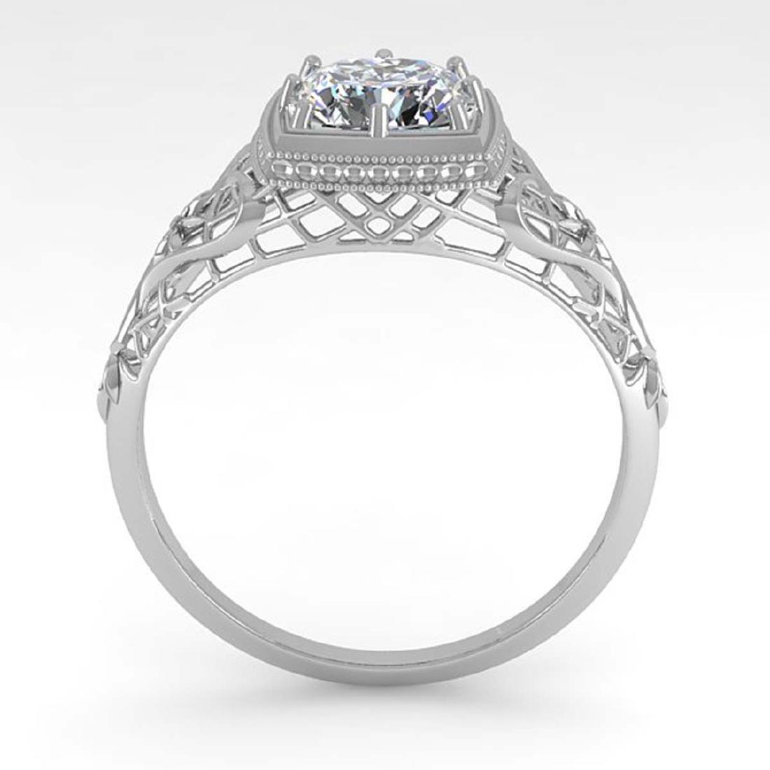 1.0 CTW Certified VS/SI Cushion Diamond Ring Art Deco - 3