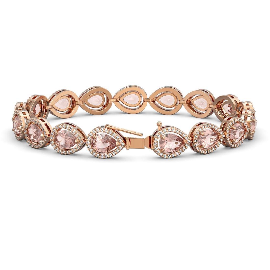 16.59 CTW Morganite & Diamond Halo Bracelet 10K Rose - 2
