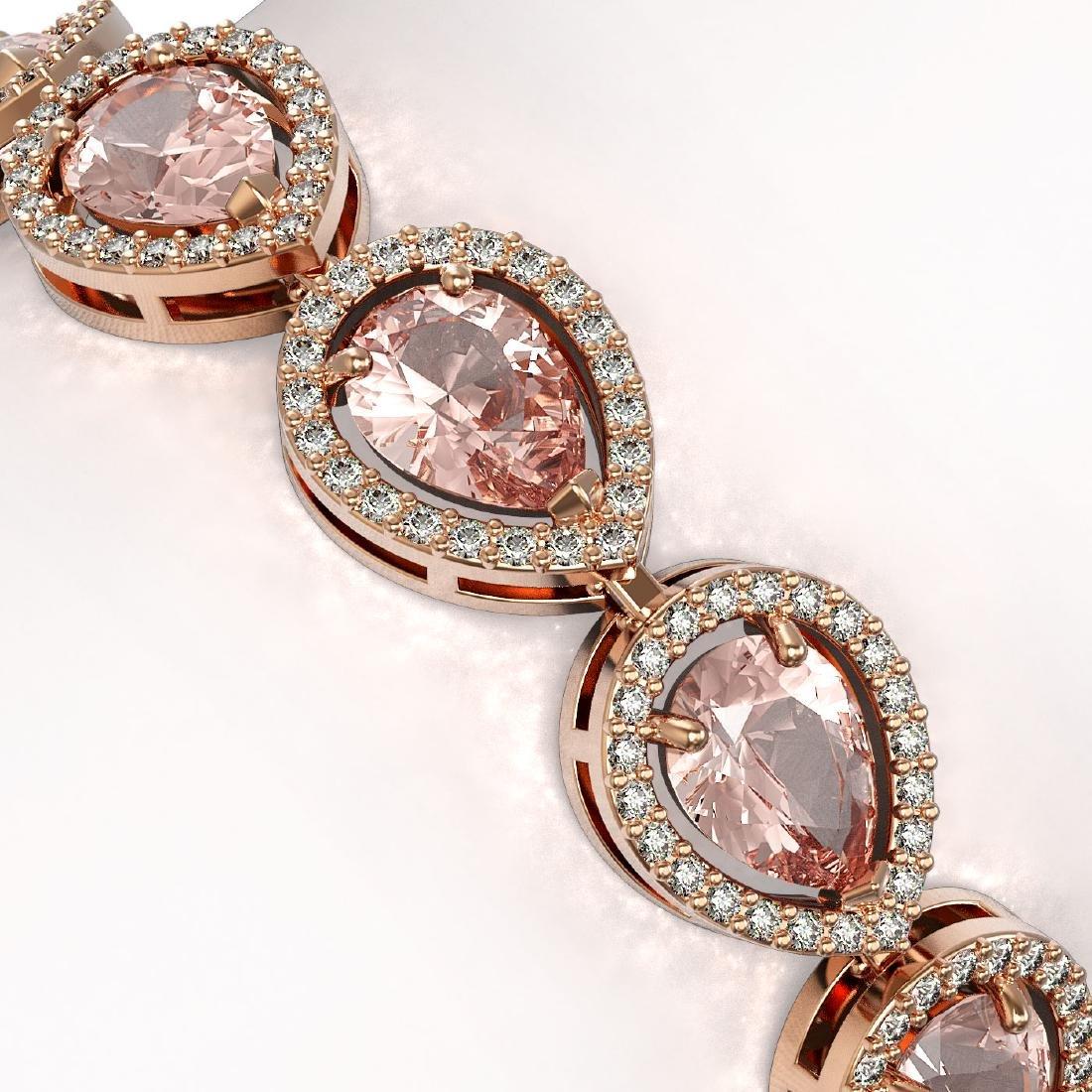 16.59 CTW Morganite & Diamond Halo Bracelet 10K Rose - 3
