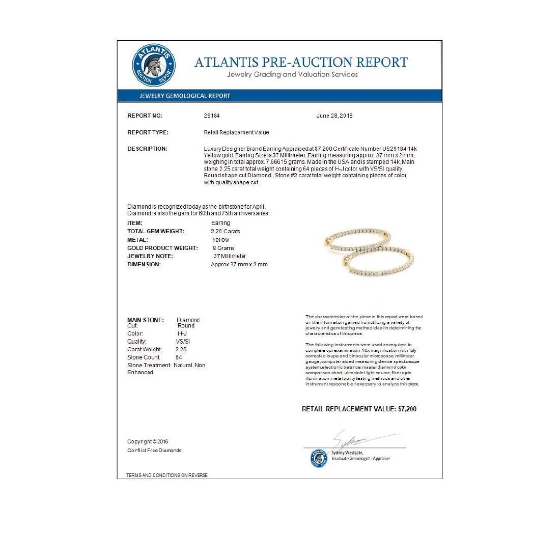2.25 CTW Diamond VS/SI Certified 37 Mm Hoop Earrings - 4