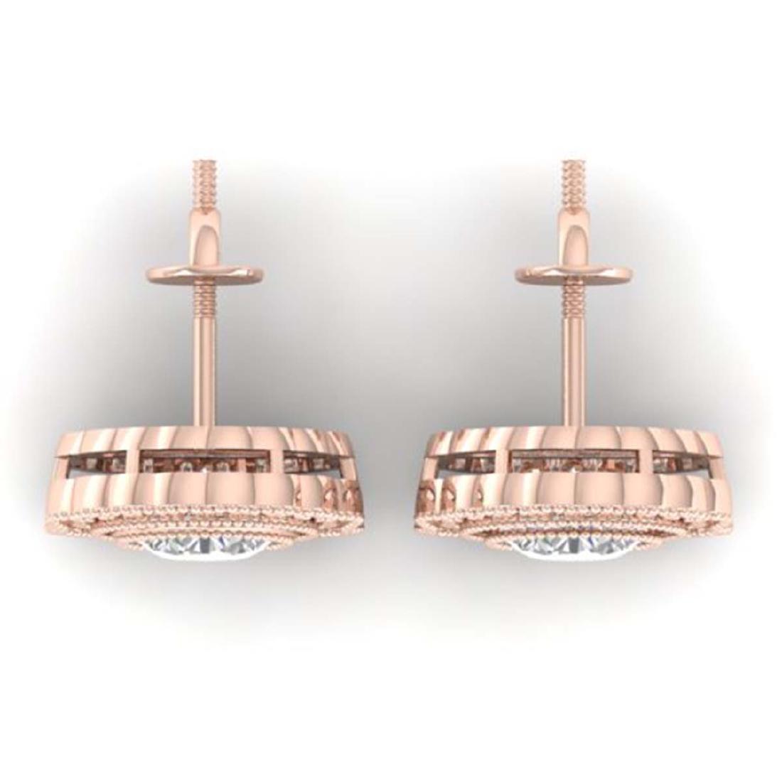 1.5 CTW Certified VS/SI Diamond Art Deco Stud Earrings - 3