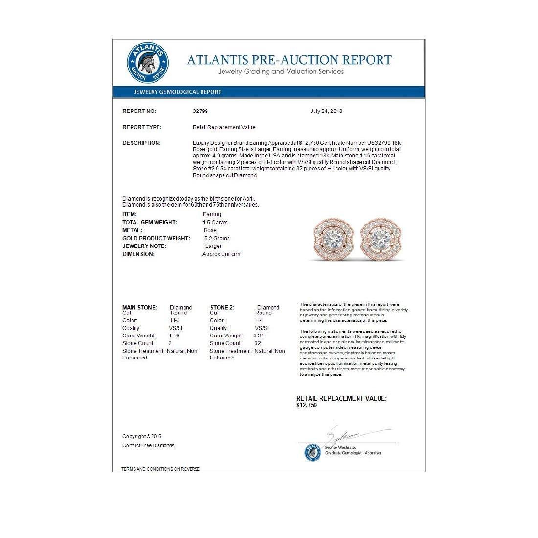 1.5 CTW Certified VS/SI Diamond Art Deco Stud Earrings - 4