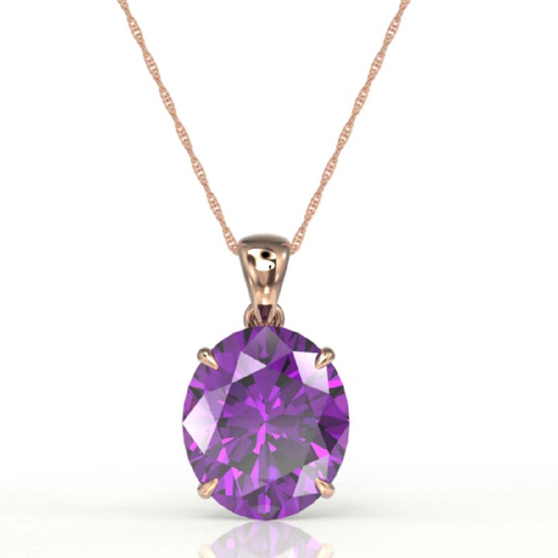 9 CTW Amethyst Designer Solitaire Necklace 14K Rose - 2
