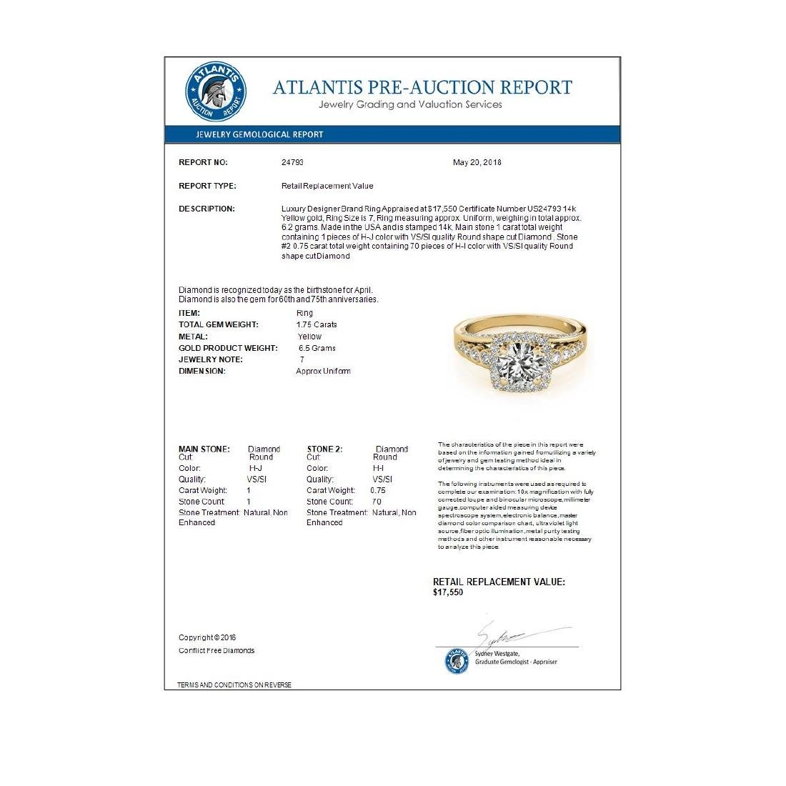 1.75 CTW Certified VS/SI Diamond Solitaire Halo Ring - 4