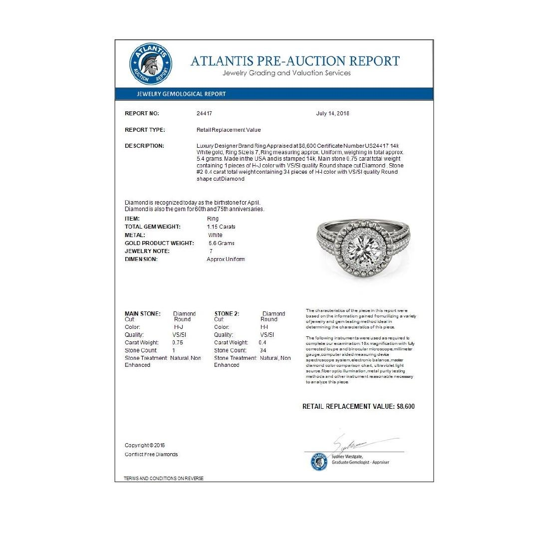 1.15 CTW Certified VS/SI Diamond Solitaire Halo Ring - 4