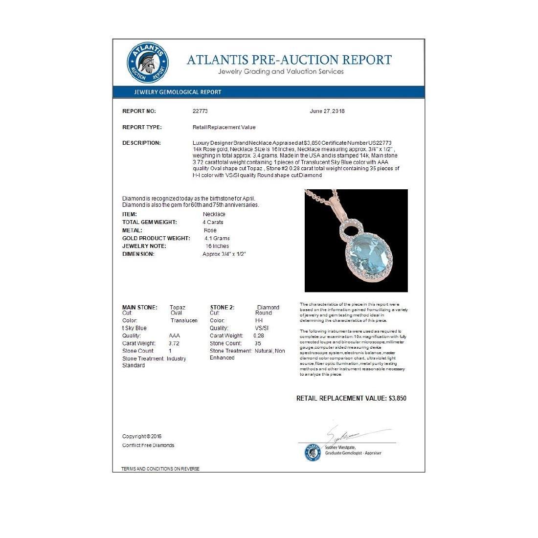 4 CTW Sky Blue Topaz & Micro Halo VS/SI Diamond - 3