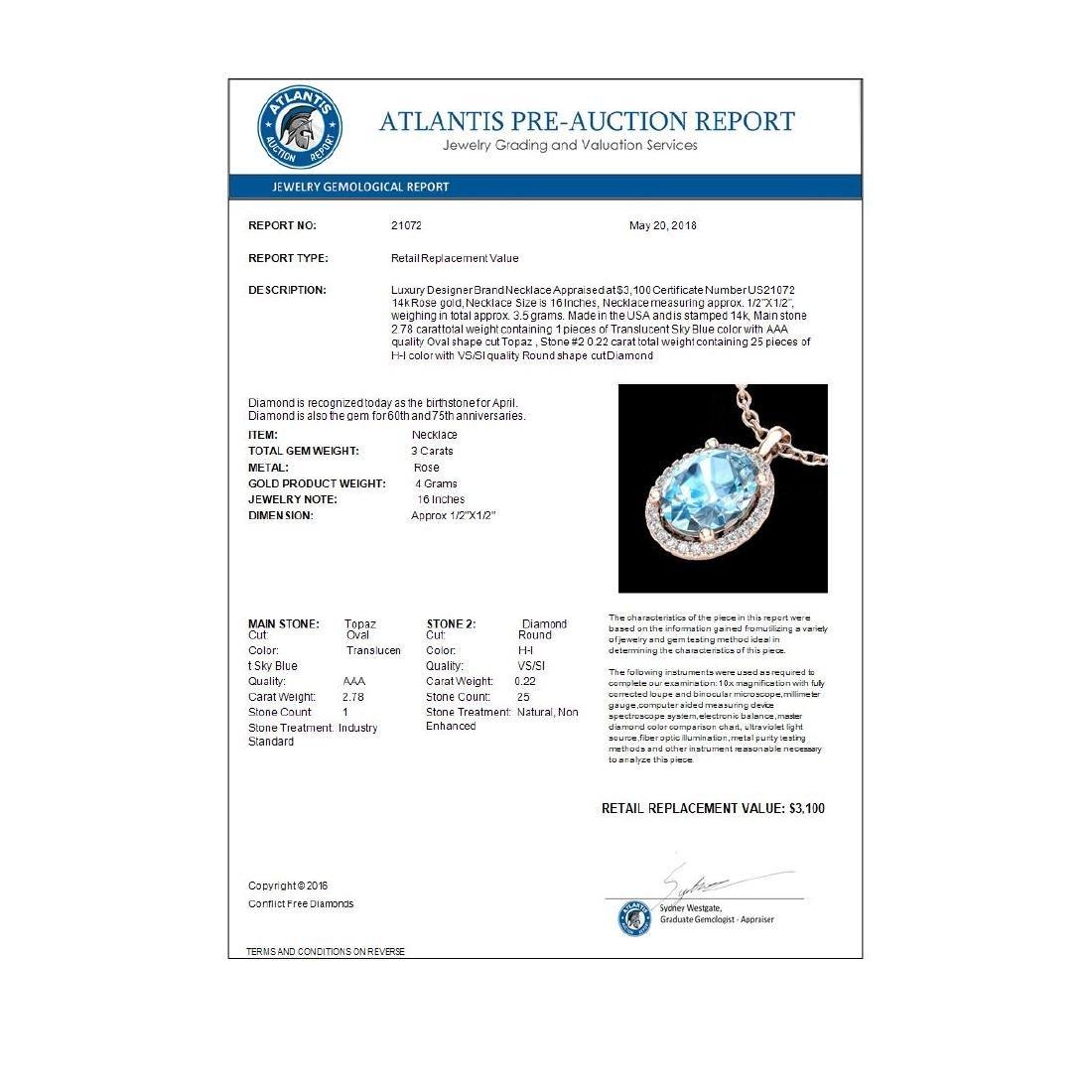 3 CTW Sky Blue Topaz & Micro Pave VS/SI Diamond - 3