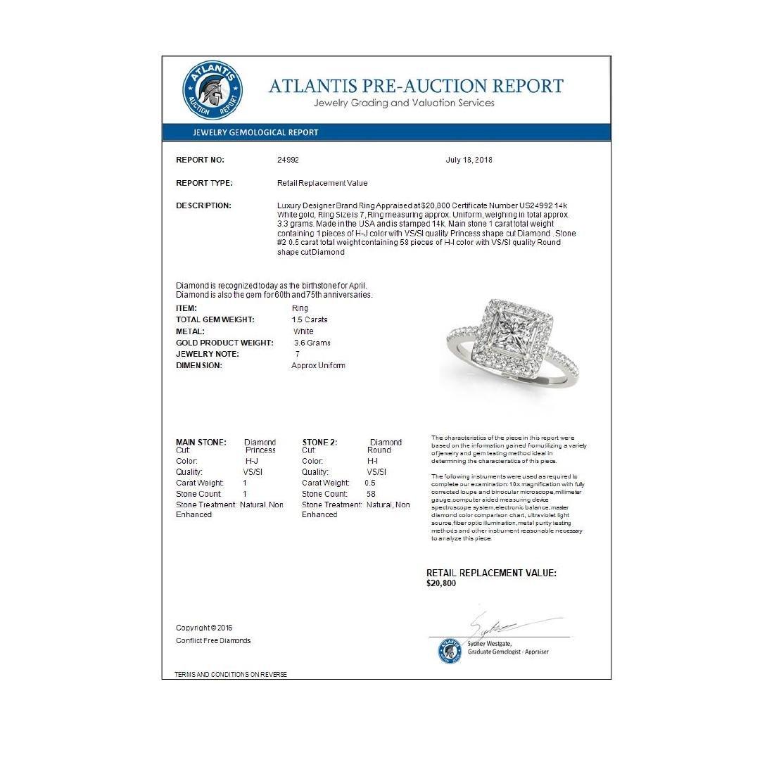1.5 CTW Certified VS/SI Princess Diamond Solitaire Halo - 3