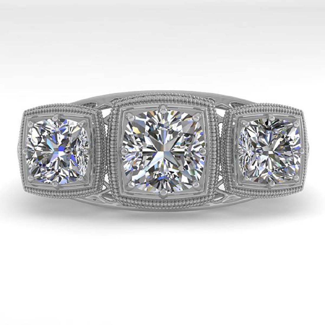 2 CTW VS/SI Cushion Cut Diamond Ring Art Deco 14K White