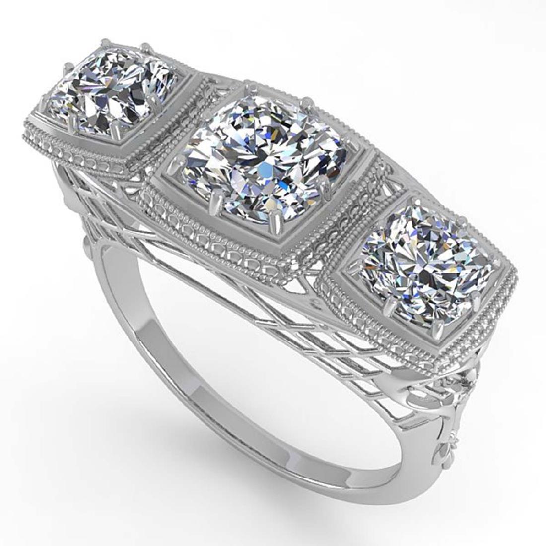 2 CTW VS/SI Cushion Cut Diamond Ring Art Deco 14K White - 2