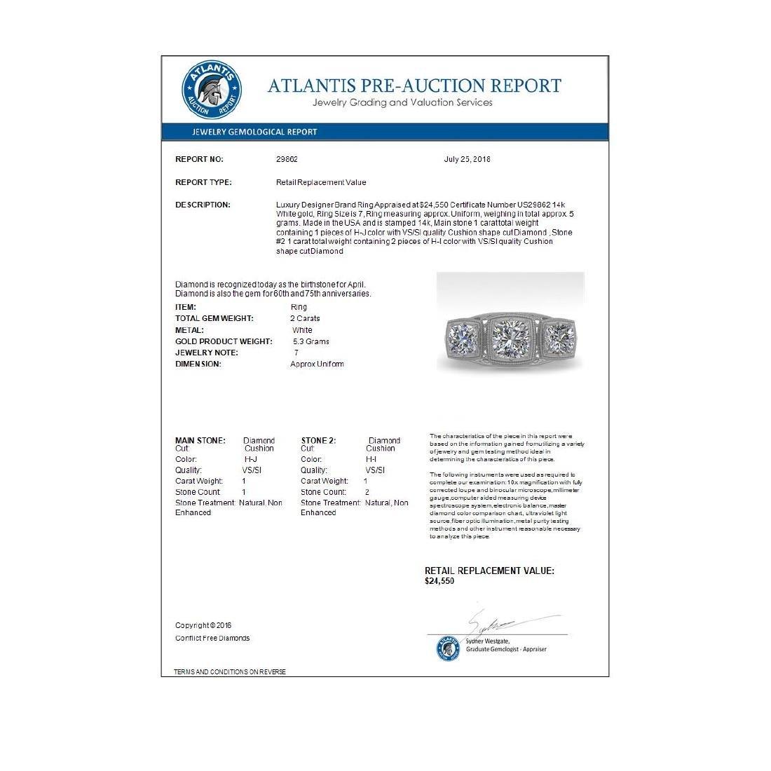 2 CTW VS/SI Cushion Cut Diamond Ring Art Deco 14K White - 4