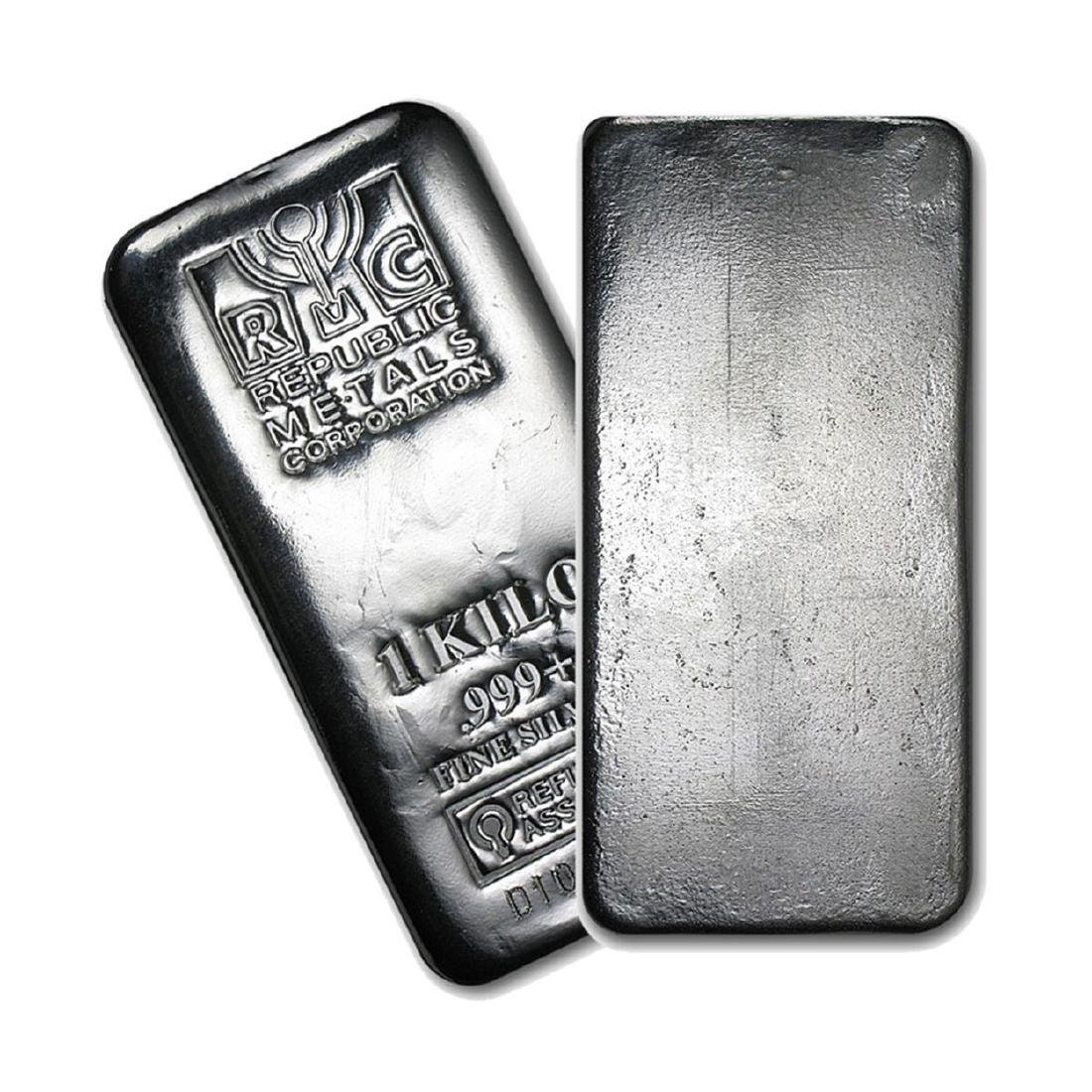 One piece 1 kilo 0.999 Fine Silver Bar Republic Metals