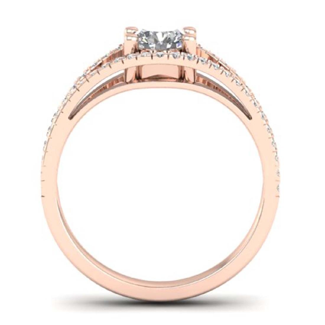 1.05 CTW Certified VS/SI Diamond Art Deco Ring 18K Rose - 3