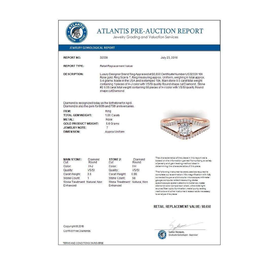 1.05 CTW Certified VS/SI Diamond Art Deco Ring 18K Rose - 4