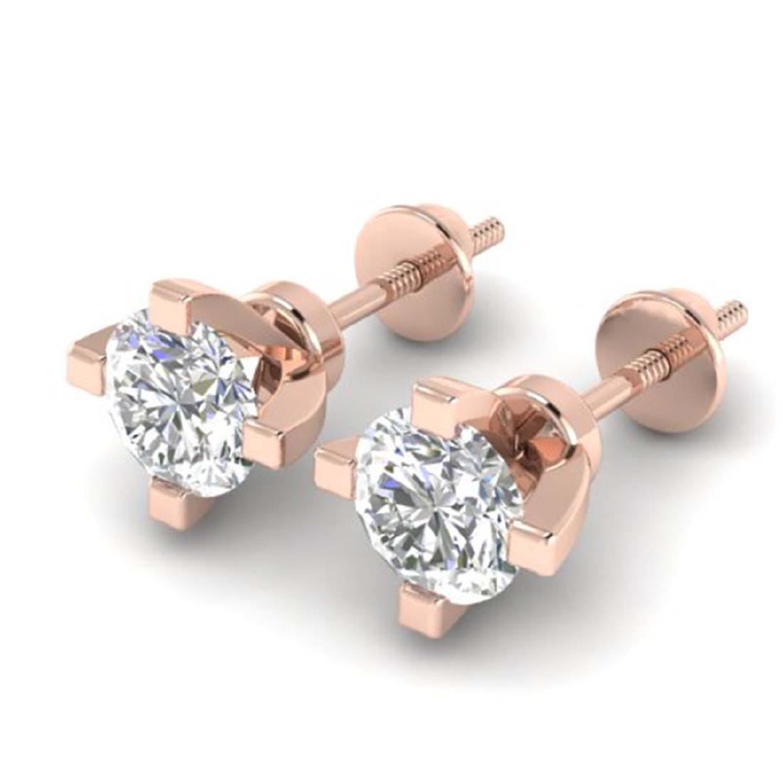 1 CTW Certified VS/SI Diamond Solitaire Stud Earrings - 2