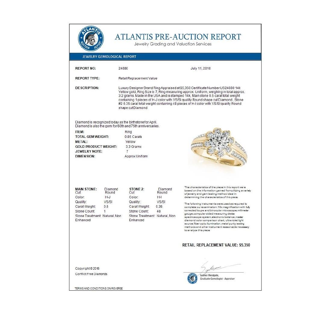 0.85 CTW Certified VS/SI Diamond Solitaire Halo Ring - 3