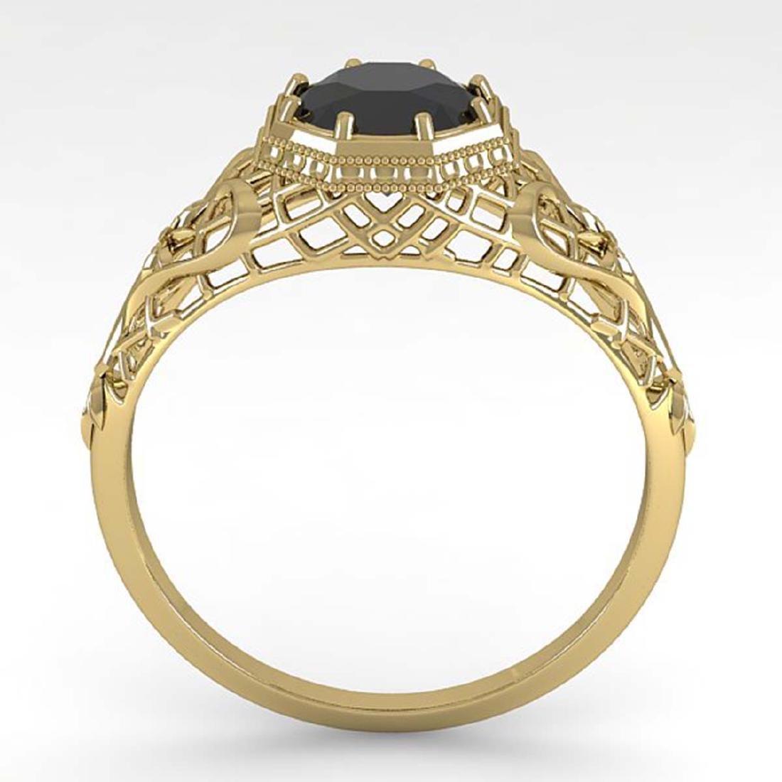 1.0 CTW Black Certified Diamond Ring Art Deco 14K - 3